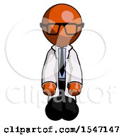 Orange Doctor Scientist Man Kneeling Front Pose