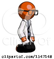 Orange Doctor Scientist Man Kneeling Angle View Right
