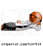Orange Doctor Scientist Man Reclined On Side
