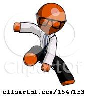 Orange Doctor Scientist Man Action Hero Jump Pose