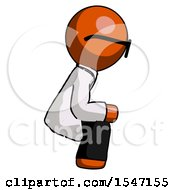 Orange Doctor Scientist Man Squatting Facing Right