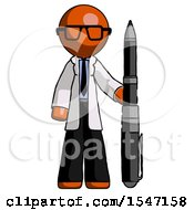 Orange Doctor Scientist Man Holding Large Pen