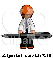 Orange Doctor Scientist Man Weightlifting A Giant Pen