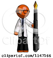 Orange Doctor Scientist Man Holding Giant Calligraphy Pen