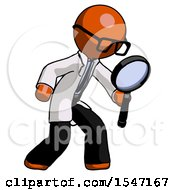 Orange Doctor Scientist Man Inspecting With Large Magnifying Glass Right