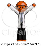 Orange Doctor Scientist Man With Arms Out Joyfully