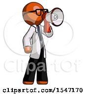 Orange Doctor Scientist Man Shouting Into Megaphone Bullhorn Facing Right