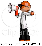 Orange Doctor Scientist Man Shouting Into Megaphone Bullhorn Facing Left