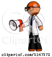 Orange Doctor Scientist Man Holding Megaphone Bullhorn Facing Right