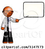 Orange Doctor Scientist Man Giving Presentation In Front Of Dry Erase Board