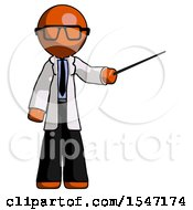 Orange Doctor Scientist Man Teacher Or Conductor With Stick Or Baton Directing