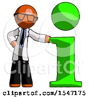 Orange Doctor Scientist Man With Info Symbol Leaning Up Against It