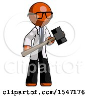 Orange Doctor Scientist Man With Sledgehammer Standing Ready To Work Or Defend