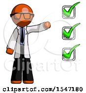 Orange Doctor Scientist Man Standing By List Of Checkmarks