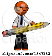 Orange Doctor Scientist Man Writer Or Blogger Holding Large Pencil