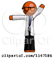 Orange Doctor Scientist Man Directing Traffic Left