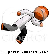 Orange Doctor Scientist Man Running While Falling Down