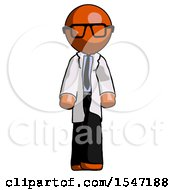 Orange Doctor Scientist Man Walking Front View