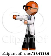 Orange Doctor Scientist Man Presenting Something To His Right