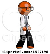 Orange Doctor Scientist Man Walking Turned Right Front View