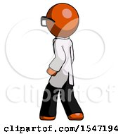 Orange Doctor Scientist Man Walking Away Direction Left View