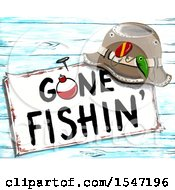 Clipart Of A Hat Resting On A Gone Fishing Sign Royalty Free Illustration