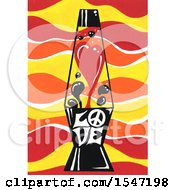 Lava Lamp With Love Text And A Peace Sign