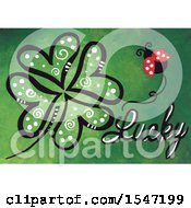 Clipart Of A Ladybug And Lucky Text With A Heart Four Leaf Clover Royalty Free Illustration