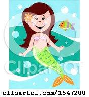 Poster, Art Print Of Girl Mermaid And A Fish