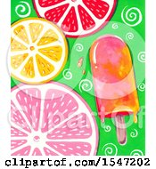 Clipart Of A Popsicle And Citrus Slice Background Royalty Free Illustration