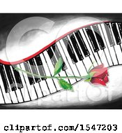 Clipart Of A Single Red Rose Flower On A Keyboard Royalty Free Illustration
