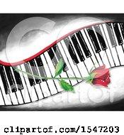Single Red Rose Flower On A Keyboard