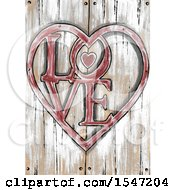 Poster, Art Print Of Rustic Love Word Heart Over Wood Panels