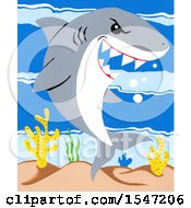 Clipart Of A Shark Smiling Royalty Free Illustration