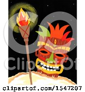 Clipart Of A Tiki Mask And Torch Royalty Free Illustration