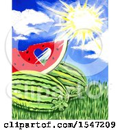 Clipart Of A Sunny Sky Over A Watermelon With A Cut Out Heart Royalty Free Illustration