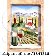 Clipart Of A Wiindow Frame With A View Of Wine Country Royalty Free Illustration