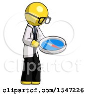 Yellow Doctor Scientist Man Looking At Large Compass Facing Right