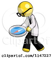 Yellow Doctor Scientist Man Walking With Large Compass