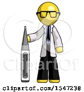 Yellow Doctor Scientist Man Standing With Large Thermometer