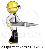 Yellow Doctor Scientist Man Walking With Large Thermometer