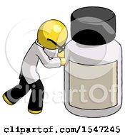 Yellow Doctor Scientist Man Pushing Large Medicine Bottle