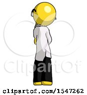 Yellow Doctor Scientist Man Thinking Wondering Or Pondering Rear View