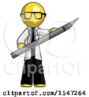 Yellow Doctor Scientist Man Holding Large Scalpel