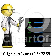 Yellow Doctor Scientist Man Server Administrator Doing Repairs