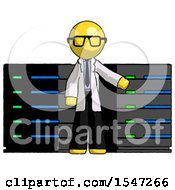 Yellow Doctor Scientist Man With Server Racks In Front Of Two Networked Systems