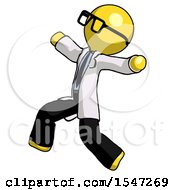 Yellow Doctor Scientist Man Running Away In Hysterical Panic Direction Left