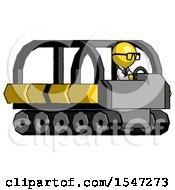 Yellow Doctor Scientist Man Driving Amphibious Tracked Vehicle Side Angle View