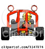 Yellow Doctor Scientist Man Riding Sports Buggy Front View