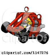 Yellow Doctor Scientist Man Riding Sports Buggy Side Top Angle View